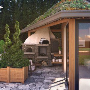 Czy chciałbyś swoją kuchnie na zewnątrz twoje palenisko w ogrodzenia wraz z kuchnią i kominkiem z ciepłym ogniskiem wypełniającym blaskiem wszystko
